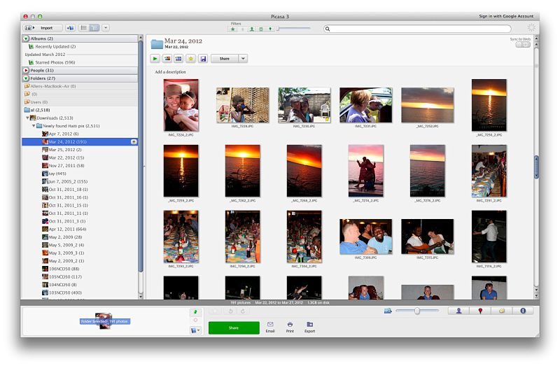 Picasa's main window